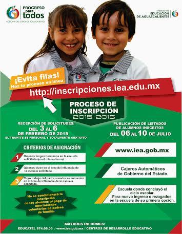 Presenta IEA proceso de inscripción en escuelas públicas