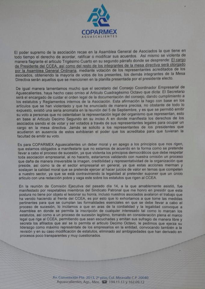 Evidencia COPARMEX elección del CCE