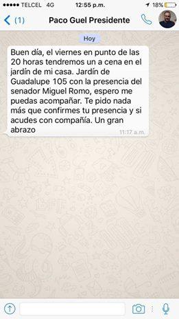 Evidencia Tavarez reunión de Guel con Romo Medina