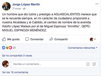 """Propone Jorge López cambiar nombre de la avenida López Mateos por el de """"Armillita"""""""