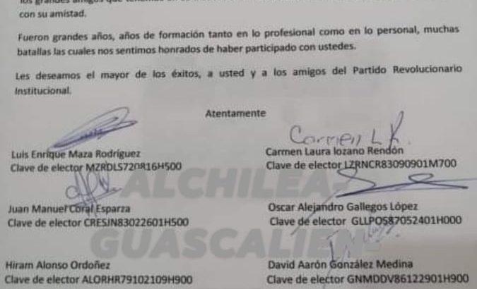 Más renuncias en el PRI Aguascalientes